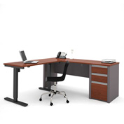 Bestar® Connexion L-Desk with Electric Height Adjustable Table Bordeaux & Slate