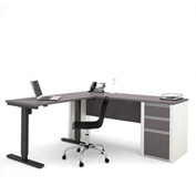 Bestar® Connexion L-Desk with Electric Height AdjusTable Table Slate & Sandstone
