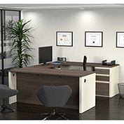 Bestar® U-Shaped Workstation with Pedestal - White Choc/Antigua - Prestige + Series