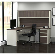 Bestar® L-Shaped Workstation - Pedestal and Hutch - White Choc/Antigua - Prestige + Series