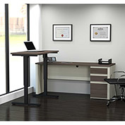Bestar® L-Desk with Height Adjustable Table - White Choc/Antigua - Prestige + Series