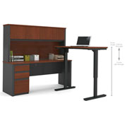 Bestar® Prestige + L-Desk with Hutch with Electric Height AdjusTable Table Bordeaux & Graphite