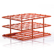 "Bel-Art Poxygrid® ""Half-Size"" Test Tube Rack, For 18-20mm Tubes, 20 Places, Orange, 1/PK - Pkg Qty 24"