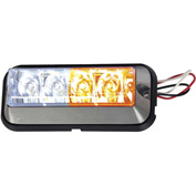 Buyers LED Rectangular Amber/Clear Strobe Light - 4 LEDs - 8891105