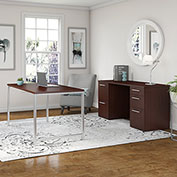 """Bush Furniture 60""""W Table Desk with Credenza and File Drawers - Harvest Cherry - 400 Series"""