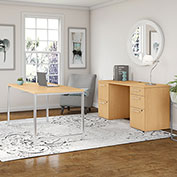 "Bush Furniture 72""W Table Desk with Credenza and File Drawers - Natural Maple - 400 Series"