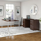 "Bush Furniture 72""W Table Desk with Credenza and File Drawers - Mocha Cherry - 400 Series"