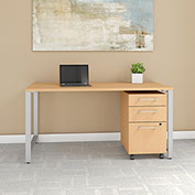 "Bush Furniture 60""W x 30""D Table Desk with Mobile File Cabinet - Natural Maple - 400 Series"