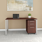 "Bush Furniture 60""W Table Desk with 3 Mobile File Cabinet - Harvest Cherry - 400 Series"