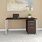 "Bush Business Furniture 60""W Table Desk with 3 Drawer File Cabinet - Mocha Cherry - 400 Series"