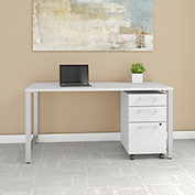 "Bush Furniture 60""W Table Desk with 3 Drawer File Cabinet - White - 400 Series"