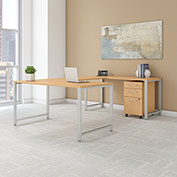 """Bush Furniture 60""""W U-Shaped Table Desk with Mobile File - Natural Maple - 400 Series"""