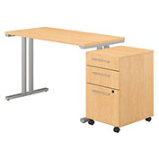"Bush Furniture 48""W Table Desk with Mobile File Cabinet - Natural Maple - 400 Series"