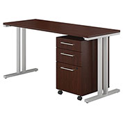 "Bush Furniture 48""W Table Desk with Mobile File Cabinet - Harvest Cherry - 400 Series"