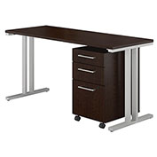 "Bush Furniture 48""W Table Desk with Mobile File Cabinet - Mocha Cherry - 400 Series"