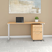 "Bush Business Furniture 60""W x 24""D Table Desk with Mobile File Cabinet - Natural Maple - 400 Series"