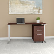 "Bush Business Furniture 60""W Table Desk with Mobile File Cabinet - Harvest Cherry - 400 Series"