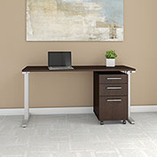 "Bush Business Furniture 60""W Table Desk with Mobile File Cabinet - Mocha Cherry - 400 Series"