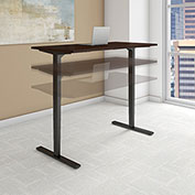 "Bush 72""W x 30""D Height Adjustable Standing Desk - Mocha Cherry - Black Frame - Move 80 Series"