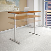 """Bush 72""""W x 30""""D Height Adjustable Standing Desk - Natural Cherry - Gray Frame - Move 80 Series"""