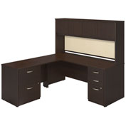 "Bush Furniture L Desk with Right Return and Hutch - 72"" - Mocha Cherry - Series C Elite"