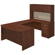 "Bush Furniture U Desk with Bowfront, Hutch and Storage - 60""W - Hansen Cherry - Series C Elite"