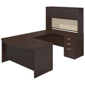 "Bush Furniture U Desk with Bowfront, Hutch and Storage - 60""W - Mocha Cherry - Series C Elite"