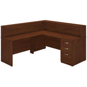 "Bush Furniture Reception Station Desk with Storage - 72""W - Hansen Cherry - Series C Elite"