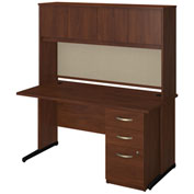 "Bush Furniture Wood Desk with Hutch and Pedestal - 60""W -  Hansen Cherry - Series C Elite"