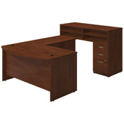"Bush Furniture Standing U Desk with Pedestal - 60""W - Hansen Cherry - Series C Elite"