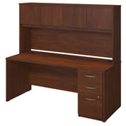 "Bush Furniture Wood Desk with Hutch and Pedestal - 72""W - Hansen Cherry - Series C Elite"
