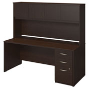 "Bush Furniture Wood Desk with Hutch and Pedestal - 72""W - Mocha Cherry - Series C Elite"
