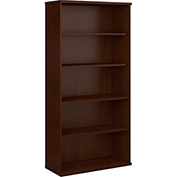 Bush Furniture Double Bookcase with 5 Shelves - Mocha Cherry - Series C