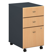 Bush Furniture Three Drawer File (Assembled) - Beech - Series A