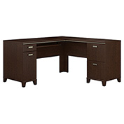 "Bush Furniture L Desk - 60"" - Mocha Cherry - Tuxedo Series"