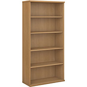 Bush Furniture Double Bookcase with 5 Shelves - Light Oak - Series C