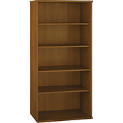 Bush Furniture Double Bookcase with 5 Shelves - Warm Oak - Series C