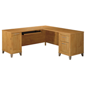 "Bush Furniture L-Desk - 71""W - Maple Cross - Somerset Series"