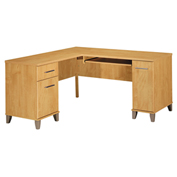 "Bush Furniture L-Desk - 60"" W - Maple Cross - Somerset Series"