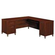 "Bush Furniture L-Desk - 71""W - Hansen Cherry - Somerset Series"