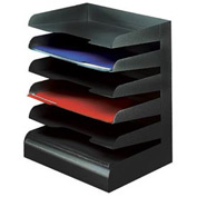 Classic™ 6 Tier Letter Size Horizontal Desk Tray - Black