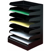 Classic™ 7 Tier Letter Size Horizontal Desk Tray - Black