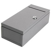 """Buddy Products Cashiers Check Stub File Safe  0590-1 - 10-3/16""""W x 4-1/2""""D x 3-1/8""""H, Gray"""