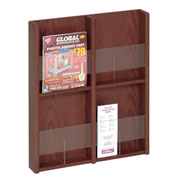 4 Pocket Literature or 8 Pocket Brochure Rack - Mahogany