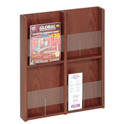 4 Pocket Literature or 8 Pocket Brochure Rack - Medium Cherry