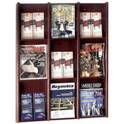 9 Pocket Literature or 18 Pocket Brochure Rack - Mahogany