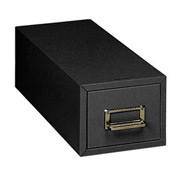 """Single Drawer Card File for 3"""" X 5"""" Index Cards - Black"""