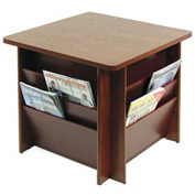 Table with Literature Rack - Mahogany