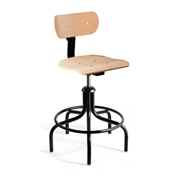 "Bevco 1502/5 Maple Plywood Stool Chair, 5-Leg Base w/ 19"" Welded Footring"