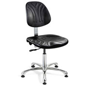 Bevco 7050D Dura Polyurethane Chair, Aluminum Base, Mushroom Glides, Black